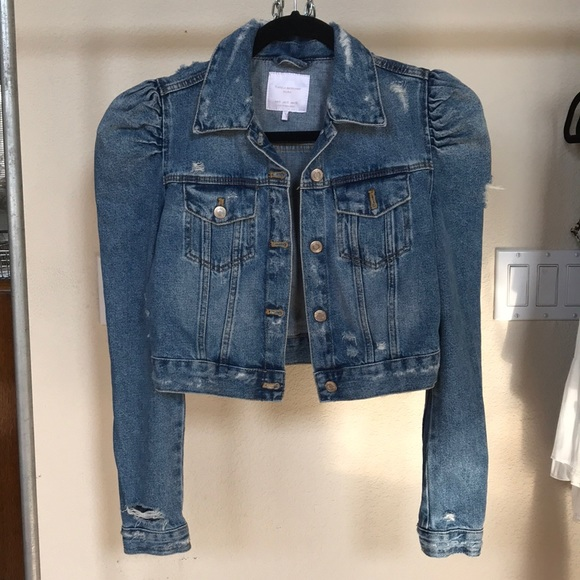 02b2ec3ea68 Zara distressed denim jacket puff shoulder small. M 5b36cbc5a5d7c6c0b9fa639b